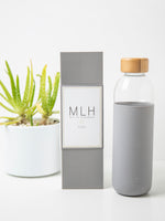 Glass Water Bottle Flask with Bamboo Lid - My Life Handmade
