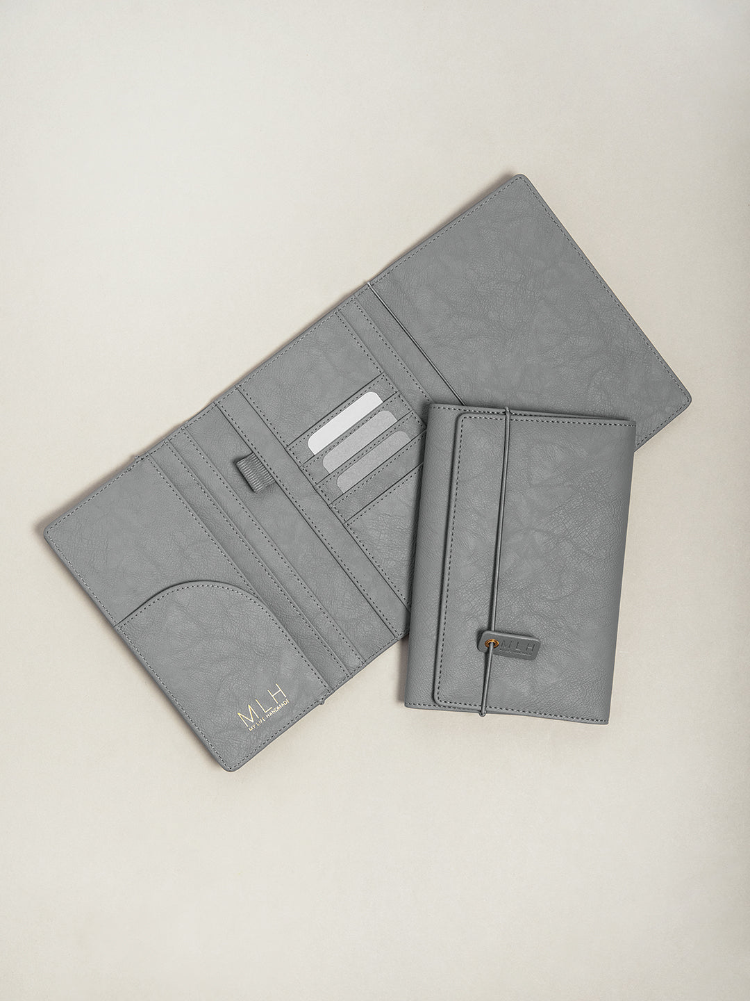 Dark Grey PU Leather Passport Holder and Travel Document Wallet
