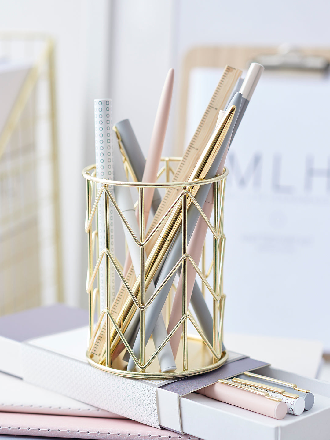 Gold Geometric Pen Pot - My Life Handmade