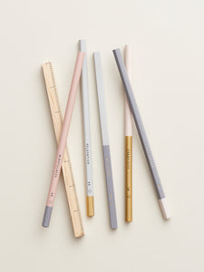 Pastel Pencil & Wooden Square Ruler Set