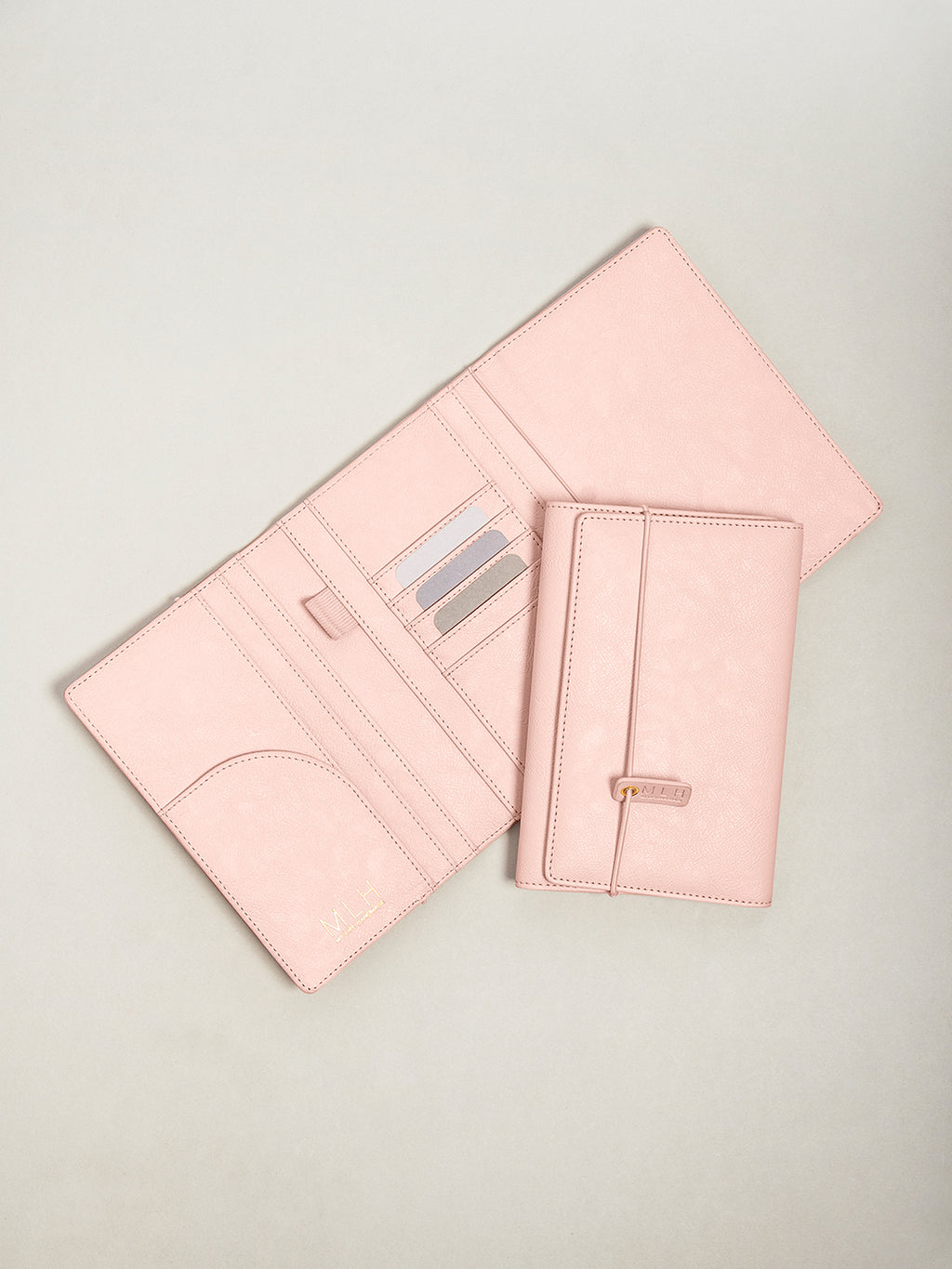 Pink PU Leather Passport Holder and Travel Document Wallet