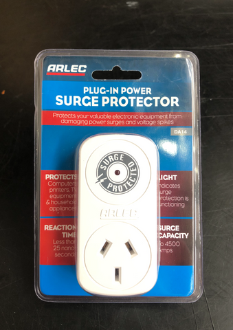 Image of white plug in surge protection power point encased in plastic packaging