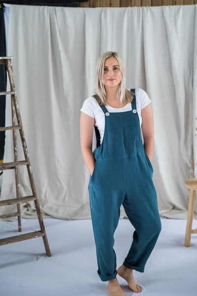 Our Model is wearing the Crossback Dungarees - Spruce Antique Washed Linen by Matta Clothing Australia.