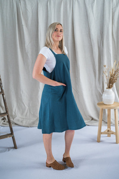 Crossback Tunic - Spruce Antique Washed Linen - Matta Clothing