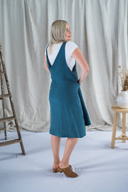 Our Model is wearing the Crossback Tunic - Spruce Antique Washed Linen by Matta Clothing Australia.