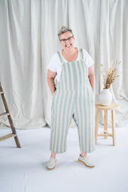 Our Model is wearing the Cropped Crosssback Dungarees - Mint Stripe by Matta Clothing Australia.