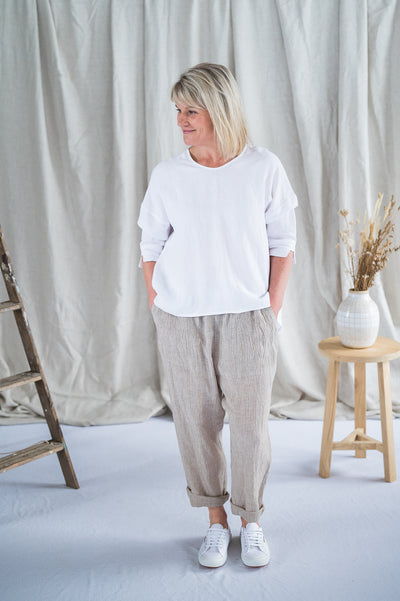 Field Top- Antique washed linen in White - Matta Clothing