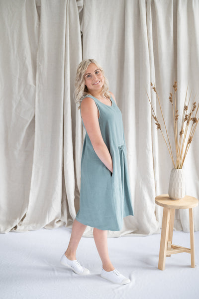 Our Model is wearing the Traveller Tunic - Linen in Mint by Matta Clothing Australia.