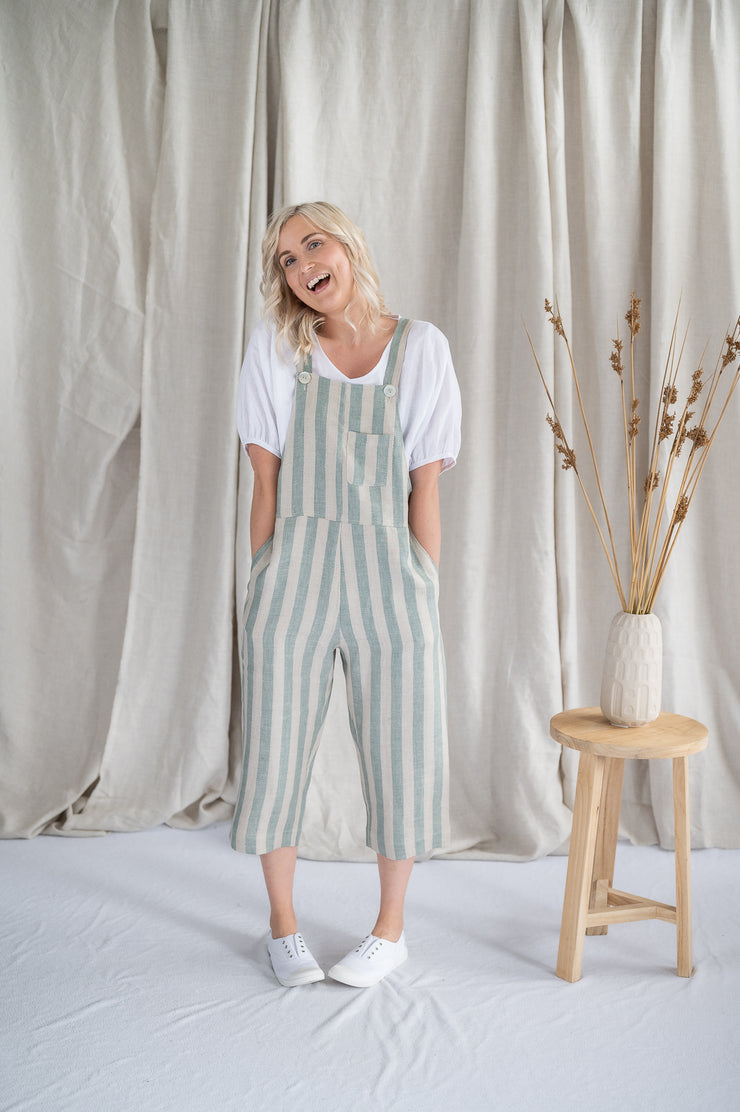 Cropped Crosssback Dungarees - Mint Stripe - Matta Clothing