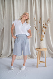 Our Model is wearing the Cedar Culotte - Marine Stripe by Matta Clothing Australia.