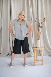 Lotus Top - Linen in Nickel - Matta Clothing