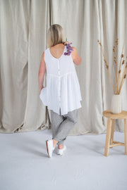 Our Model is wearing the Lola Top - Antique White by Matta Clothing Australia.