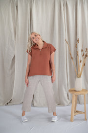 Our Model is wearing the Coastal Shirt -Toffee by Matta Clothing Australia.