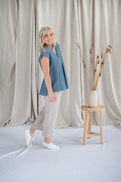 Lotus Top - Linen in Cornflower - Matta Clothing
