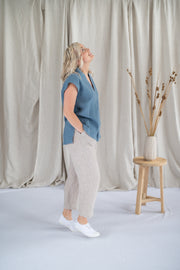 Our Model is wearing the Lotus Top - Linen in Cornflower by Matta Clothing Australia.