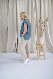 Our Model is wearing the Meadow Pants - Oat Stripe by Matta Clothing Australia.