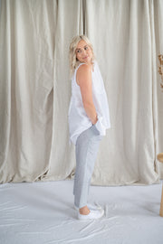 Our Model is wearing the Meadow Pants - Marine Stripe by Matta Clothing Australia.