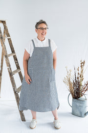 Sunday Dress - Navy Gingham Linen - Matta Clothing - Australian Clothes Designer - mattaclothing.com.au