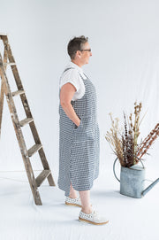 Our Model is wearing the Sunday Dress - Navy Gingham Linen by Matta Clothing Australia.
