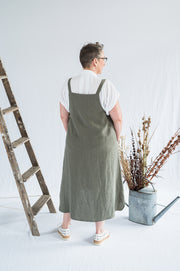 Our Model is wearing the Sunday Dress - Sage Washed Linen by Matta Clothing Australia.