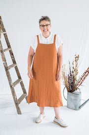 Our Model is wearing the Sunday Dress - Ochre Washed Linen by Matta Clothing Australia.