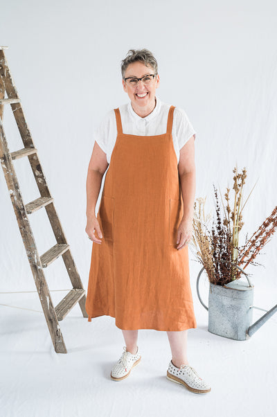 Sunday Dress - Ochre Washed Linen - Matta Clothing - Australian Clothes Designer - mattaclothing.com.au