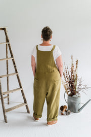 Dungarees - Olive Antique Washed Linen - Matta Clothing - Australian Clothes Designer - mattaclothing.com.au