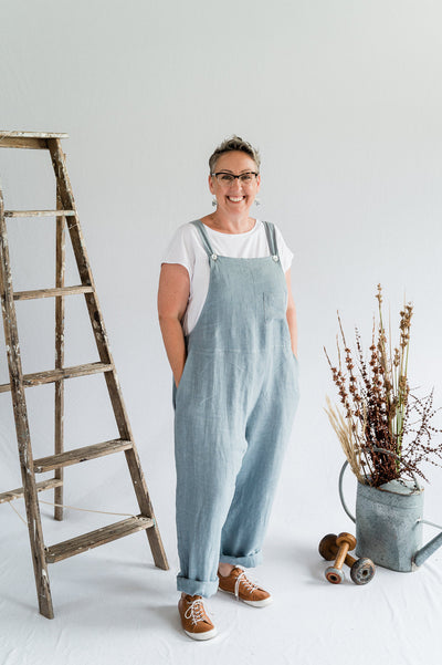 Our Model is wearing the Dungarees - Dove Blue Antique Washed Linen by Matta Clothing Australia.