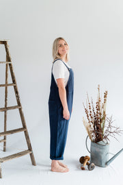 Dungarees - Navy Blue Antique Washed Linen - Matta Clothing - Australian Clothes Designer - mattaclothing.com.au