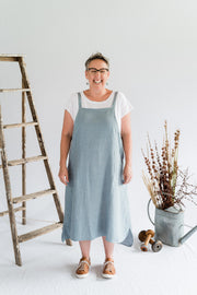 Sunday Dress - Antique Washed Linen in Dove Blue - Matta Clothing - Australian Clothes Designer - mattaclothing.com.au