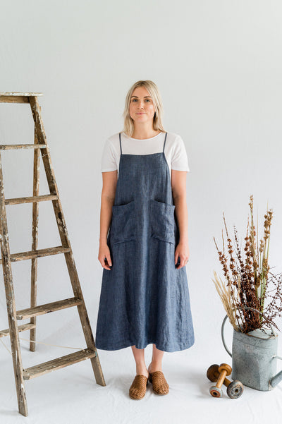 Our Model is wearing the Makers Dress - Linen in Ash Blue by Matta Clothing Australia.