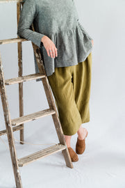 Vespa Pant - Antique Washed Linen in Olive - Matta Clothing - Australian Clothes Designer - mattaclothing.com.au