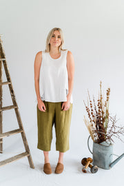 Our Model is wearing the Flutter Top - Antique Washed Linen in White by Matta Clothing Australia.