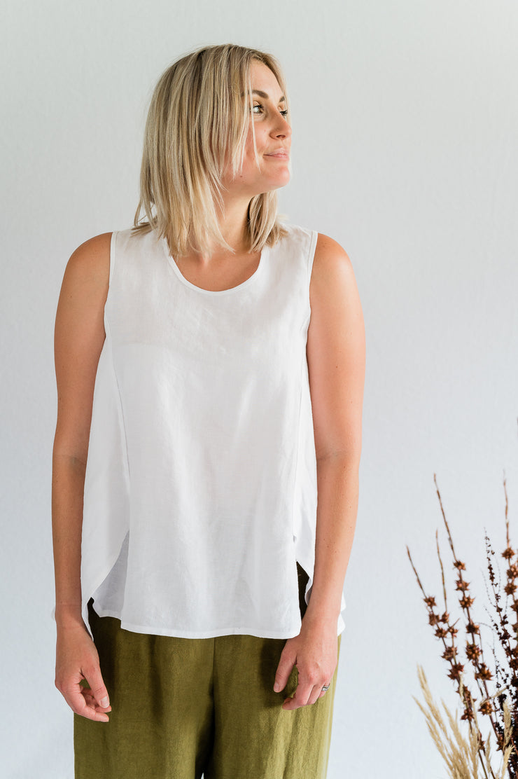 Flutter Top - Antique Washed Linen in White - Matta Clothing