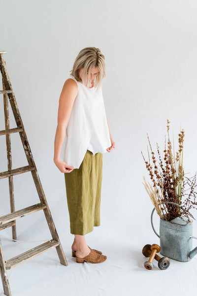 Flutter Top - Antique Washed Linen in White - Matta Clothing - Australian Clothes Designer - mattaclothing.com.au