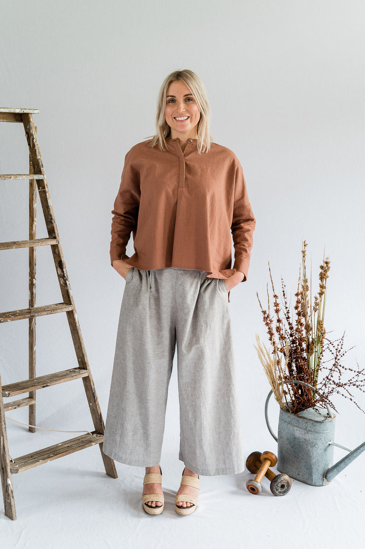 Our Model is wearing the Coastal Pant - Cotton in Nickel by Matta Clothing Australia.