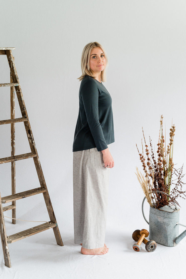 HI-Lo Long Sleeve Merino Top - Blue/Grey - Matta Clothing - Australian Clothes Designer - mattaclothing.com.au