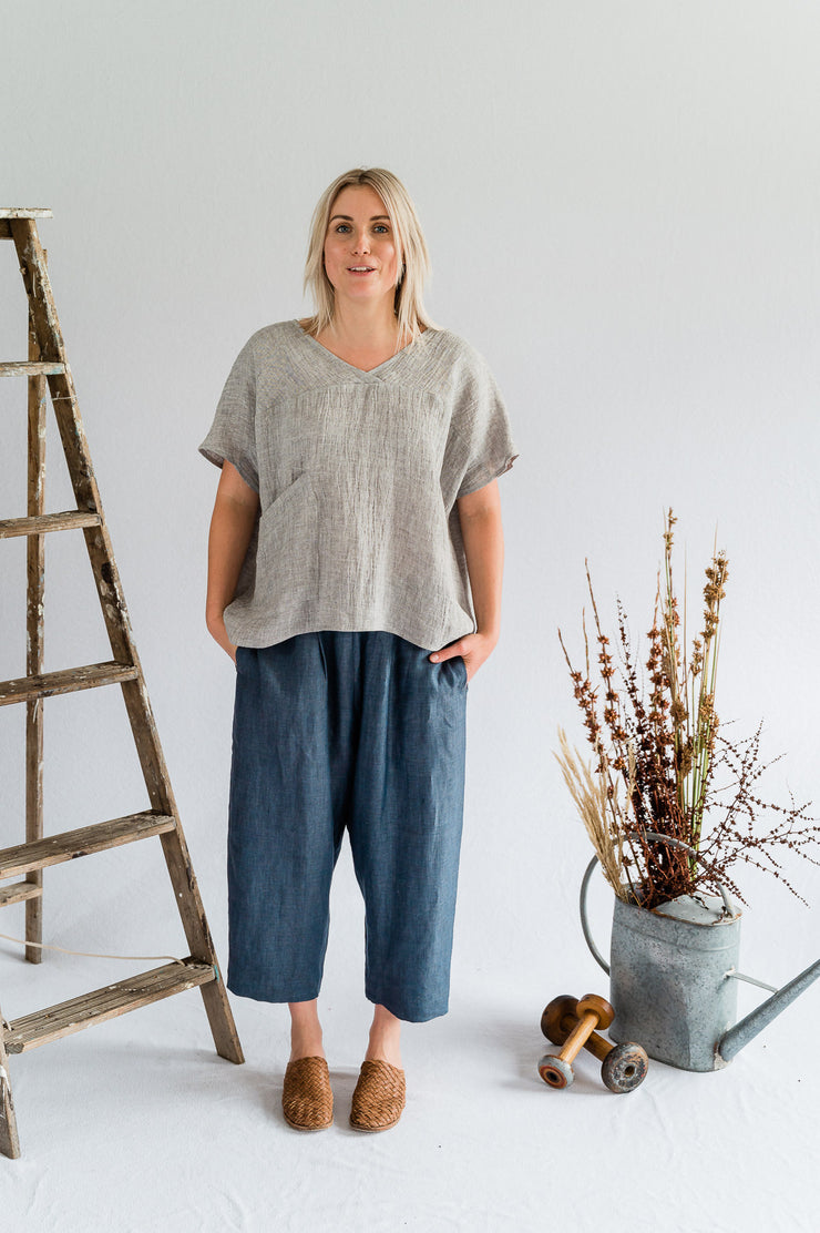 Our Model is wearing the Seed Top - Linen in Nickel by Matta Clothing Australia.