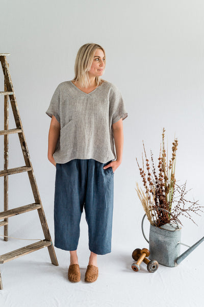 Seed Top - Linen in Nickel - Matta Clothing - Australian Clothes Designer - mattaclothing.com.au