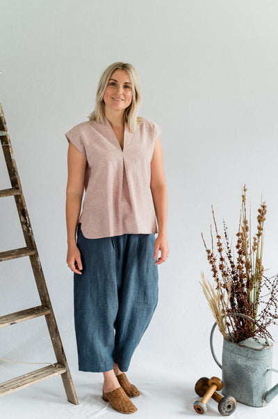 Our Model is wearing the Lotus Top - Cotton in Blush by Matta Clothing Australia.