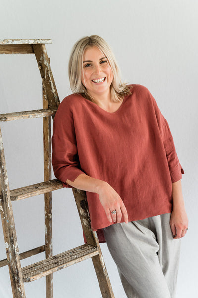 Field Top- Linen in Merlot - Matta Clothing - Australian Clothes Designer - mattaclothing.com.au