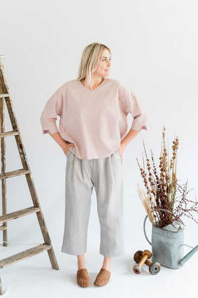 Our Model is wearing the Studio Pants - Linen in Oyster by Matta Clothing Australia.