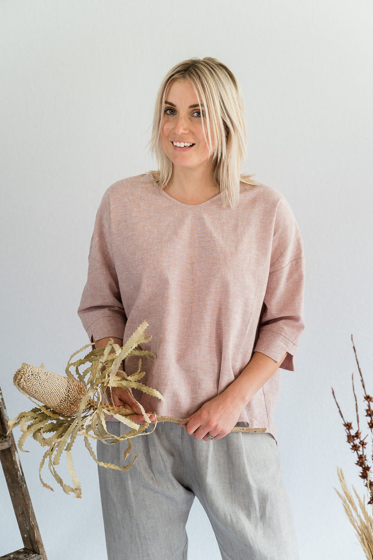 Our Model is wearing the Field Top- Cotton in Blush by Matta Clothing Australia.