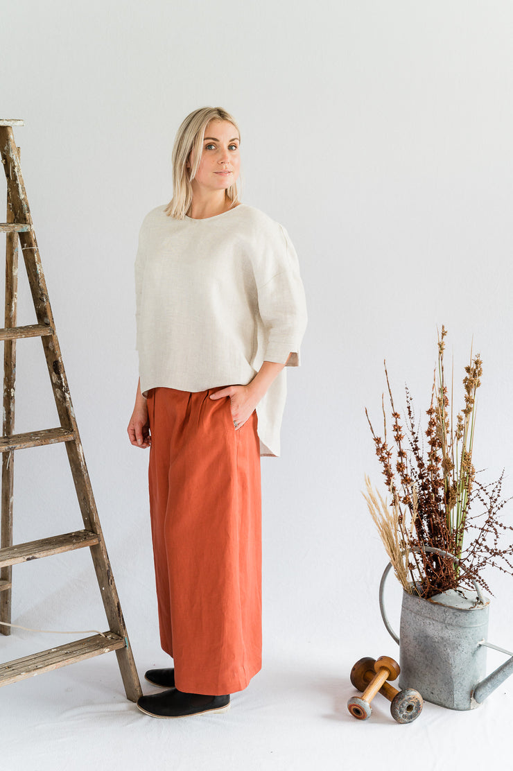 Our Model is wearing the Field Top- Linen in Oatmeal by Matta Clothing Australia.
