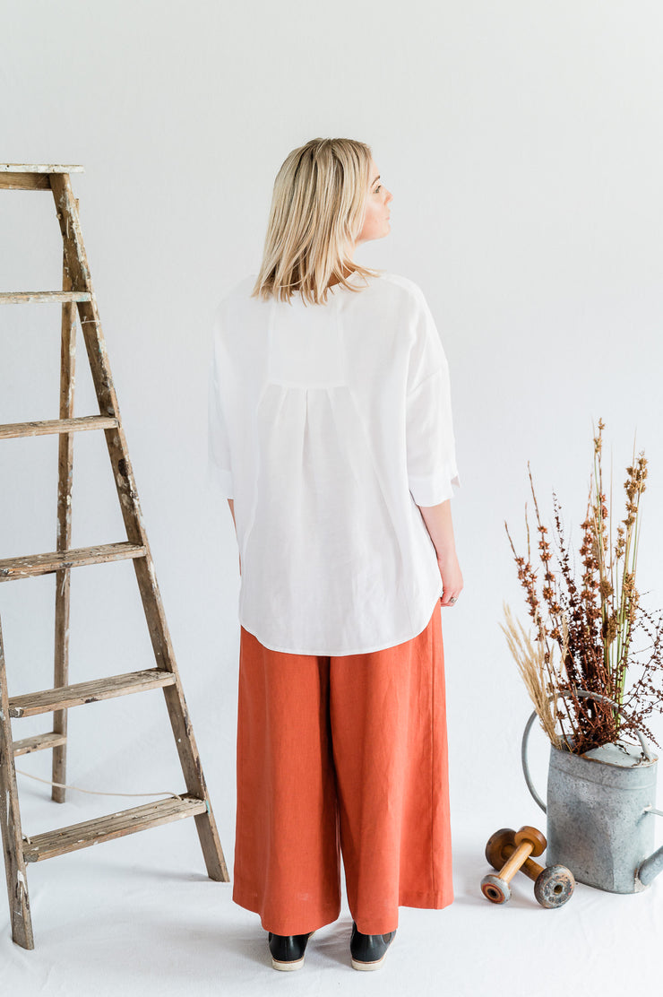 Our Model is wearing the Field Top- Antique washed linen in White by Matta Clothing Australia.