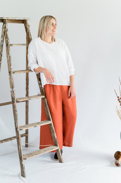 Field Top- Antique washed linen in White - Matta Clothing - Australian Clothes Designer - mattaclothing.com.au