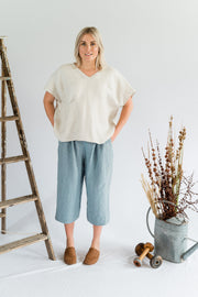 Our Model is wearing the Seed Top - Linen in Oatmeal by Matta Clothing Australia.