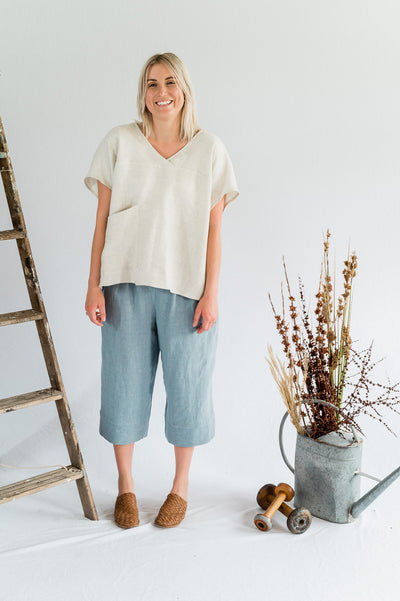 Our Model is wearing the Vespa Pant - Antique Washed Linen in Dove by Matta Clothing Australia.