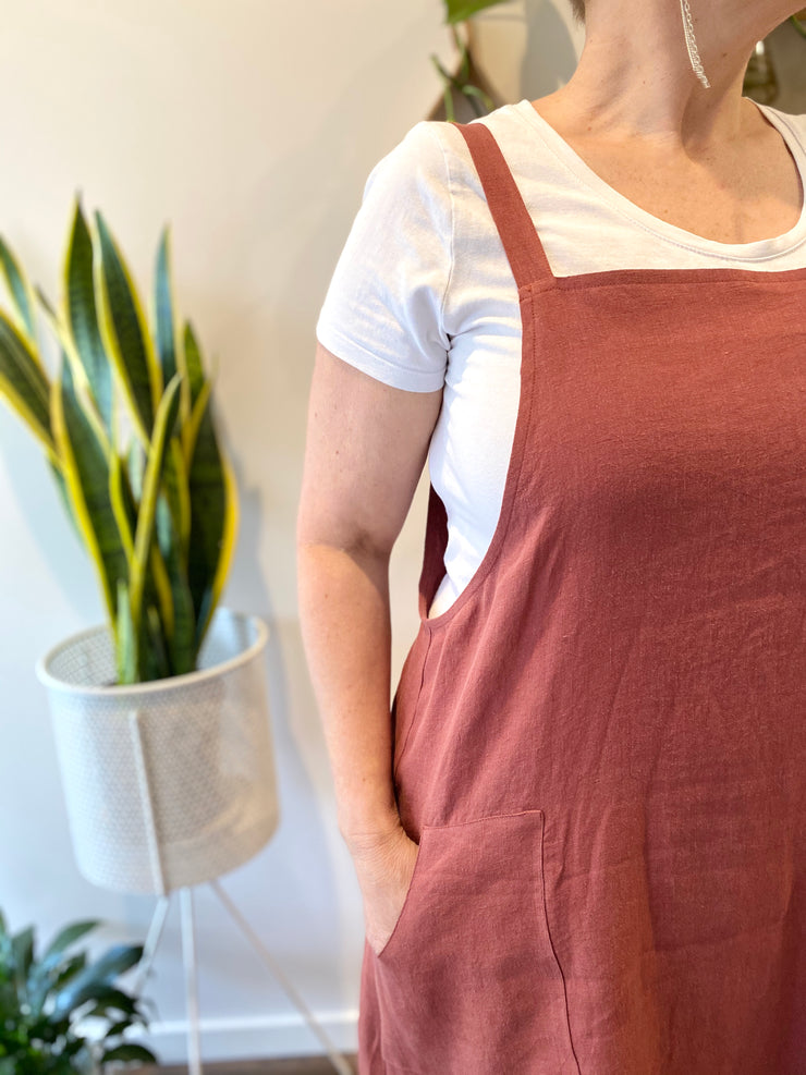 Sunday Dress - Antique Washed Linen in Merlot