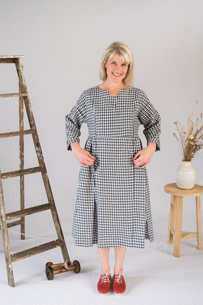 Our Model is wearing the Gretel Dress - Gingham by Matta Clothing Australia.